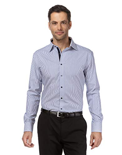 Vincenzo Boretti Herren-Hemd bügelfrei 100% Baumwolle Regular-fit gestreift New-Kent Kragen - Männer lang-arm Hemden für Anzug Krawatte Business Freizeit blau/weiß 43/44 -