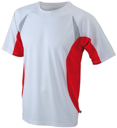 James & Nicholson -T-shirt Uomo Bianco (white/red)