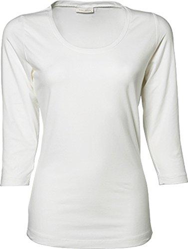 TJ460 Ladies 3/4 Sleeve Stretch Tee, Farbe:White;Größen:M M,White (Einlaufvorbehandelt Womens Tee)