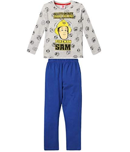 Feuerwehrmann Sam Schlafanzug Jungen Lang Pyjama (Blau-Gemustert, 98; Prime)