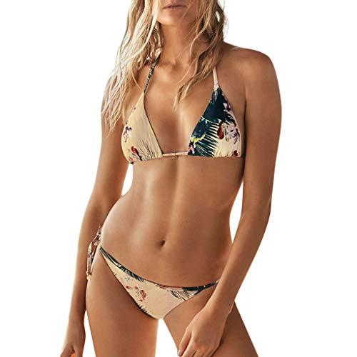 WOZOW Frauen Schwimmanzug Boho Floral Blumenmuster Blatt Zweiteilig Badeanzug Neckholder Rückenfrei Tie String Tanga Thong Damen Bademode (hellgelb)