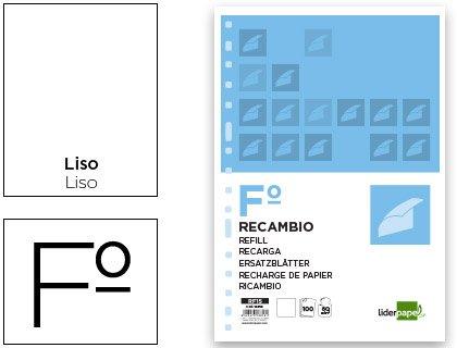 RECAMBIO LIDERPAPEL FOLIO 100 HOJAS 60G/M2 LISO SIN