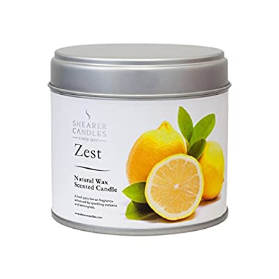 "Shearer Candles Large ""Zest"" Natural Wax Scented Tin Candle, White by Shearer Candles"