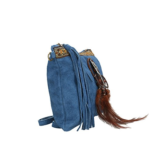 Chicca Borse Borsa a tracolla in pelle 30x22x2 100% Genuine Leather Blue