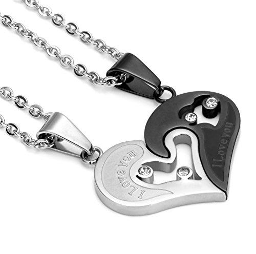 Jstyle Schmuck Halskette Herrenhalskette Freundschaft verliebte Paare Kette mit Gravur Schwarz Weiß Zirkonia Stein 55cm Kette