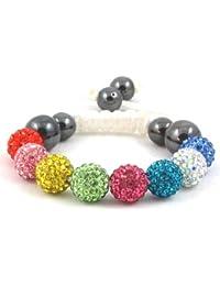 08-Ball Children Kids Girls Boys Petites Teen Multi-Colour Bead Shamballa Bracelet on White String