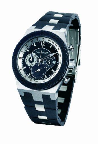 Time Force - TF2936M01 - Montre Homme - Quartz Analogique - Cadran Noir - Bracelet en Caoutchouc Noir
