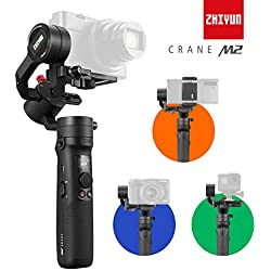 Zhiyun Crane M2 Stabilisateur Gimbal 3 Axes Portable 3 en 1 pour Caméra Vidéo Appareil Photo Reflex, Smartphone, Action Cam, pour Sony Nikon Panasonic Canon