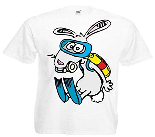 Motiv Fun T-Shirt Kaninchen beim Tauchen Cartoon Spass Film Serie Weiß