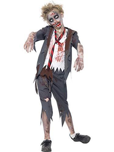 Schuljunge Zombie Kostüm - Halloweenia - Jungen Kinder Kostüm Horror Geister Schuljunge Schüler mit Hose Jacke Oberteil und Krawatte, Bloody Zombie Schoolboy, perfekt für Halloween Karneval und Fasching, 122-134, Grau