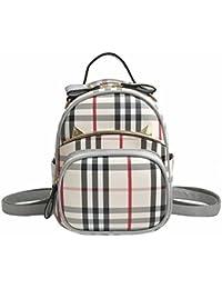 Estudiante de dudubaobei Plaid mochila bolsa de moda casual PU cuero fresco simple pequeña mochila pequeña