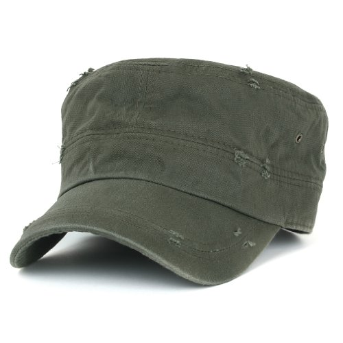 ililily Distressed Cotton Cadet Cap with Adjustable Strap Army Style Hut (cadet-527-3) Army Style Cap