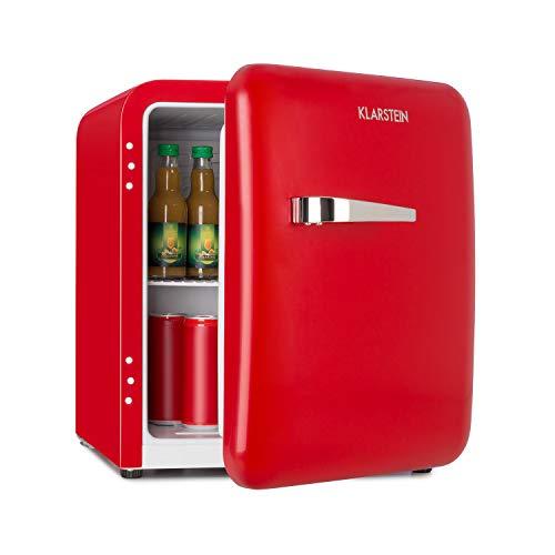 Klarstein Audrey Mini Retro-Kühlschrank • Mini-Kühlschrank • Getränkekühlschrank • Energieeffizienzklasse A+ • 48 Liter Fassungsvermögen • 2 Ebenen • Kühltemperatur: 0-10 °C • Flaschenfach • rot