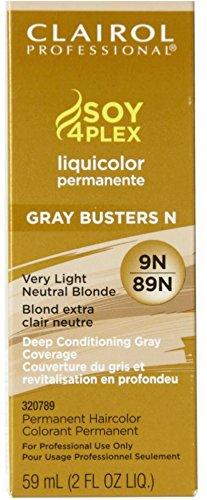 Clairol Colorant permanent Soy4Plex Liquicolor - Couverture du gris à 100% - Blond extra clair neutre 89N - 59 ml