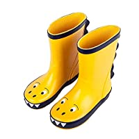 Ice-Beauty-ukzy Kids Waterproof Rain Boots Rubber Rain Boots Wellington Boots Non-slip Warm Boots Boys Girls Toddler (Size 23-35) Yellow-23