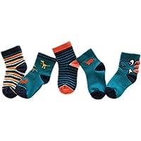 Morbuy Calcetines para Niños, Pack de 5 Pares de Antideslizante Calcetines para Niños Algodón Rico (S (pie Largo 13-15cm), Dinosaurio)