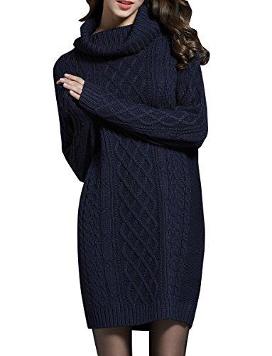 ELLAZHU Femme À La Mode Col Roulé Manches Longues Tricot À Côtes Pull Long YY41 Blue L