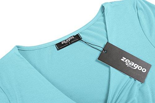 Zeagoo Damen Sommershirt V-Ausschnitt T-Shirt Sexy Kurzarm Blusen Einfarbig Oberteil Tunika mit den Konoten Helle Blau