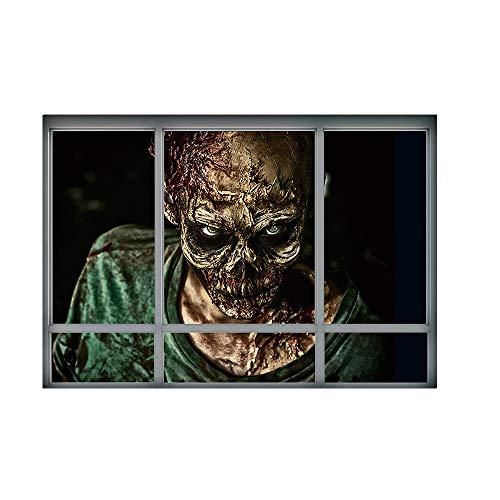 LANDFOX 68cmx48.5cm Kreative Stereo 3D Gefälschte Fenster Wandaufkleber Halloween Zombie Aufkleber Happy Halloween Haushalt Zimmer Wandbild Decal Removable Terror -