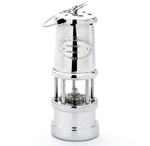 Grubenlampe Aluminium vernickelt, mit 6 mm Runddocht, Höhe 170 mm, Lamp & Limelight Company, Wales, U.K. -