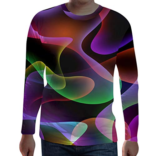 Herren Leuchtende Farben Longsleeve Shirt Crew-Neck Langarmshirt 3D Druck T-Shirt Slim Fit Pullover (Captain America Super Soldier Kostüm)