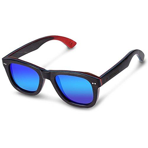Navaris Holz Sonnenbrille UV400 - Damen Herren Brille unisex - polarisierte Holzbrille aus...