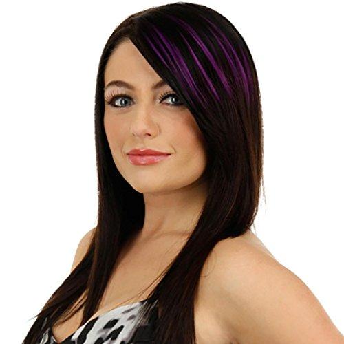 ESAILQ Hübsche Mädchen Clip On Clip In Front Hair Bang Fransen Haar Verlängerung Stück Thin Farbe Liu Hai (lila) (Bang Clip In)