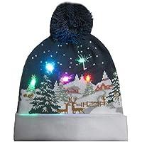 Bloomma Sombrero de Navidad con Punto de luz LED, Sombrero de Gorro navideño de Navidad con LED, Sombrero de Nieve de Invierno Suéter Sombrero de Fiesta Feo Sombrero de Gorro