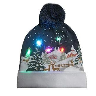 liuxi gorra de Papá Noel con luz LED con forma, Gorro navideño con Gorro de punto con luz de color