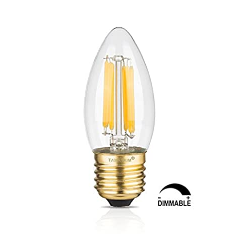 TAMAYKIM 6W Dimmable LED Filament Candle Light Bulb, 3000K Soft