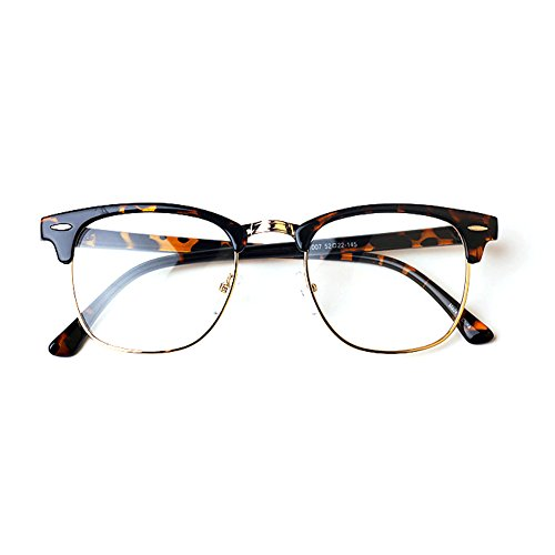 Preisvergleich Produktbild 1920s Nerd Brille filigran rund Glasses Klarglas Hornbrille treber 07R10 Leopard