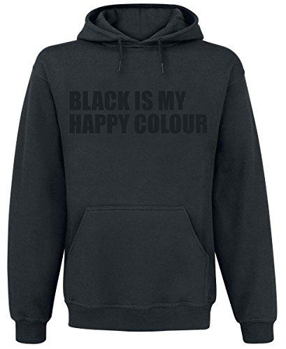 Black Is My Happy Colour Felpa con cappuccio nero XL
