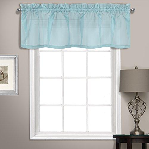 United Vorhang Sheer Voile gerade Querbehang, Hellblau, 142,2x 35,6cm - Fenster Behandlungen Topper