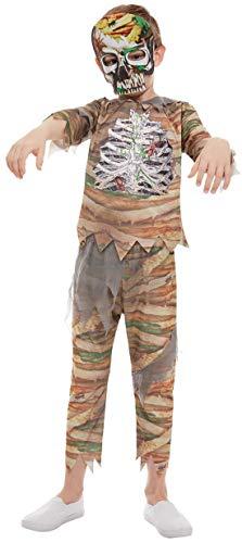 Kostüm Zubehör Mumie - Halloweenia - Jungen Kinder Horror Zombie Mumien Kostüm, Hose Oberteil und Maske, perfekt für Halloween Karneval und Fasching, 104-116, Beige