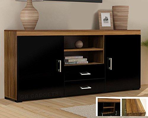Holz TV Ständer Sideboard TV Regal Schrank mit Schubladen Ablage schwarz glänzend Walnuss - Aus Holz-tv-ständer