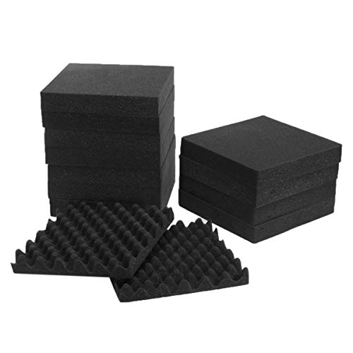 ExcLent 24Pcs Acoustic Sound Treatment Convoluted Egg Profile Foam Panels Soundproofing Foam -
