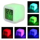 FOONEE Sveglia LED con Funzione Snooze E Display A LED HD, Forma Digitale Quadrata Orologio Digitale Silenzioso con Luce A 7 Colori