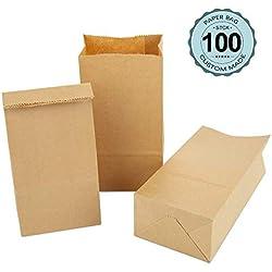 100 Petites Sachet Courses alimentaires en Papier Kraft 9 x 16 x 5 cm Sac d'Emballage Biodégradable pour Bonbons en a Vrac, Pochette petits cadeau, Kit Patisserie, mariage, Marron