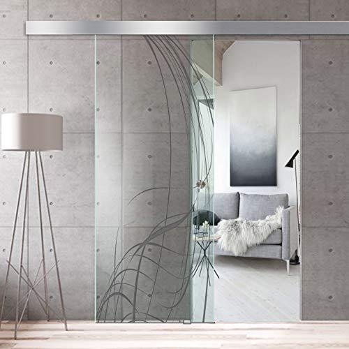 Modern glass art - porta scorrevole in vetro per design di interni boss - vetro temperato di sicurezza spesso 8 mm, rivestimento nano, raccordi in acciaio inox ss304, grigio
