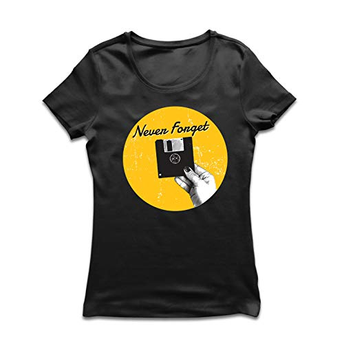 lepni.me Frauen T-Shirt Vergessen Sie nie 80er Jahre 90er Jahre, Retro- und sarkastische Computergrafik (Small Schwarz Mehrfarben)