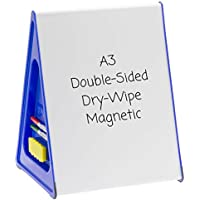 A3 Magnetic Whiteboard, Drywipe, Double-sided, Portable, Ideal for use at Home or at School