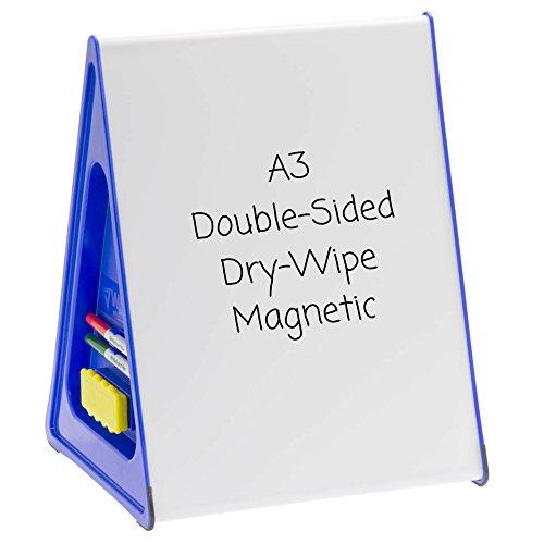 The Wedge Supporto triangolare con lavagne bianche magnetiche su 2 lati, formato A3, colore: Blu