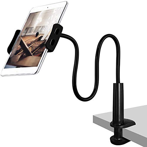 CLM-Tech Schwanenhals Halterung für 4-11 Zoll Tablet PC's und Smartphones, Flexibler Verstellbarer Arm für den Bettrahmen, Schreibtisch und mehr, 78 cm lang, schwarz - Iv Arm