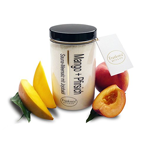 Saunasalz Peeling Mango Pfirsich 400g - Meersalz mit natürlichem Jojobaöl - Dusch- und Körperpeeling Body Scrub mit pflegenden Mineralstoffen für alle Hauttypen -