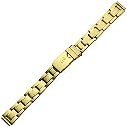 Uhrenarmband Metall 12mm gold - Faltschließe mit Sicherheitsverschluss - Uhrband aus Edelstahl - Gliederband inkl. Wechselanstöße 14mm & 16mm - Marburger Uhrenarmbänder seit 1945