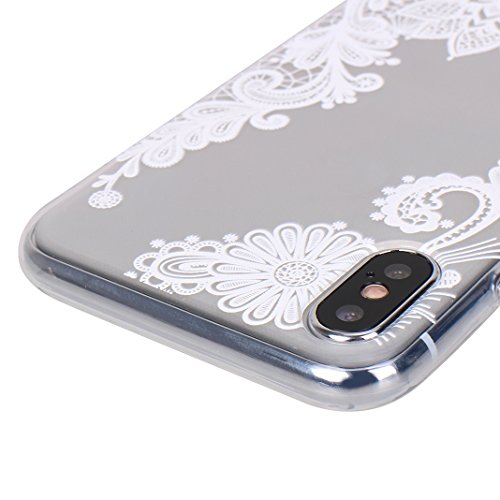 [2 Pezzi] Custodia iPhone X, iPhone 10 Trasparente Cover, MeiC Power Custodia Ultra Sottile Silicone Case Molle di TPU Protettiva Custodia Cover Case per Apple iPhone X / iPhone 10 (5,8 Pollici) Cassa E-Fiore Mandala