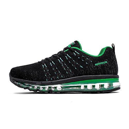 tqgold Uomo Donna Air Scarpe da Ginnastica Running Sportive Fitness Basse Sneakers (Nero Verde,39 EU)