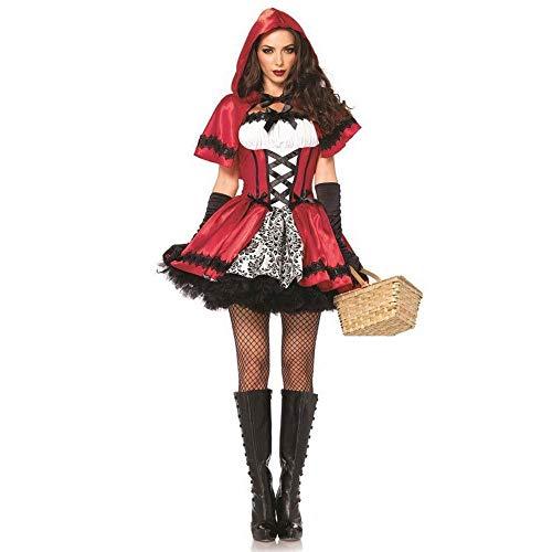 Damen Cosplay Kostüm Little Red Hat Kostüm Halloween Queen-Outfit-Weihnachts-Show-Outfit ()