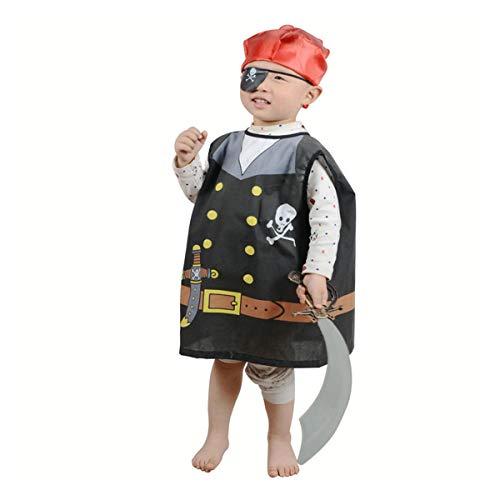 Toyvian Kids Small Pirate Dress-up-Kostüm 4pcs Rollenspiel-Kostüm Set Halloween Party Maskerade Bühnenperformance Cosplay Outfit Pretend Play Kleidung für Kinder Höhen von 80 cm bis 130 cm