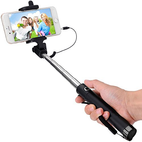 prsTECH® Selfie Stick Deluxe Stange Stab Monopod Aux 70 cm verstellbar, für iPhone, Android, HTC, jedes Handy, Samsung Galaxy S6, S6 Edge, S5, S5 mini, S4, S4 mini, iPhone 6, 6 Plus, 3, 3GS, 4, 4s, 5, 5S, Xperia Z3, OnePlus One Smartphone